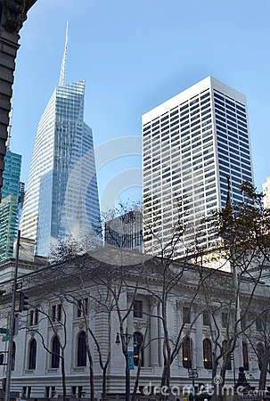 City buildings on the streets of New York day Editorial Stock Image