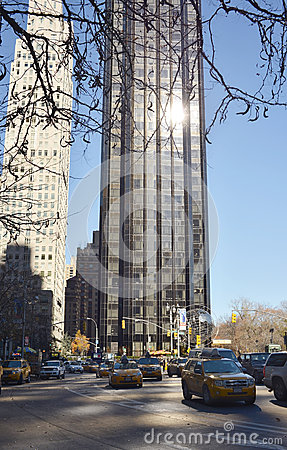 City buildings on the streets of New York day Editorial Photography