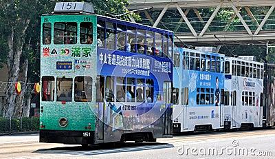 City bus on Hongkong street Editorial Stock Photo