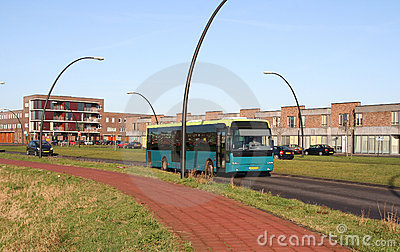 City bus in suburb