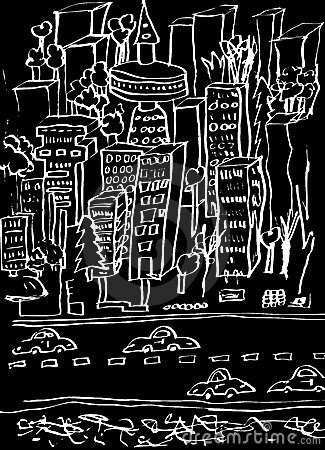 City Cartoon Black and White
