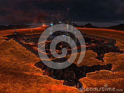 City in center of lava lake