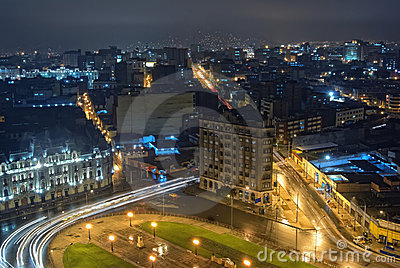 The city center of Lima at nigth