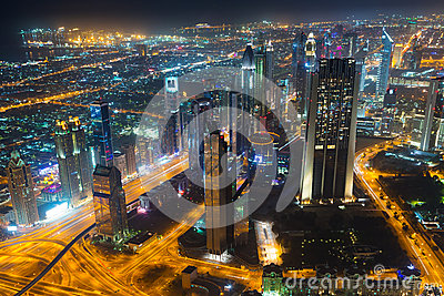 City centre of Dubai at night