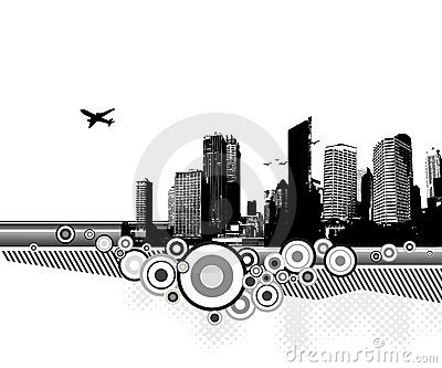 City with circles. Vector