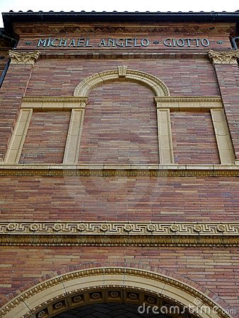 City: classical brick facade