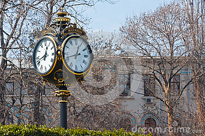 Old city clock Bucharest Romania