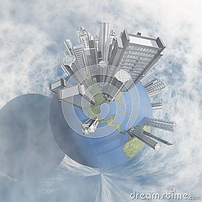 City in clouds
