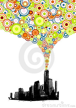 City with colorful circles. Vector