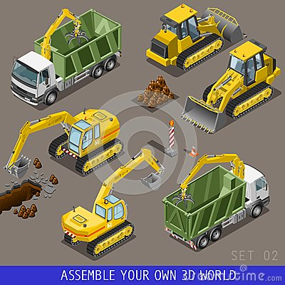 Free City Construction Transport Isometric Flat 3d Icon Set Stock Photo - 55464510
