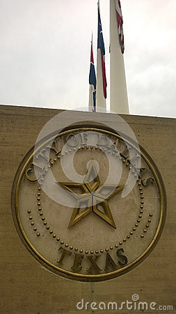 City of Dallas sign with flags
