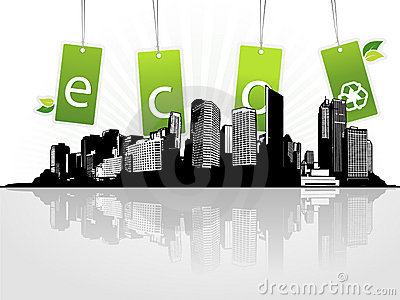 City with eco tags.