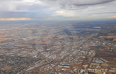 City edmonton from airplane