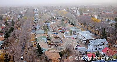 City edmonton in mist
