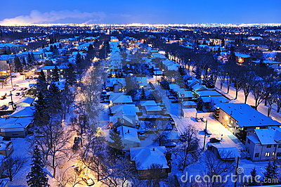 City edmonton winter night