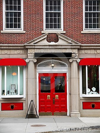 City: elegant red store front