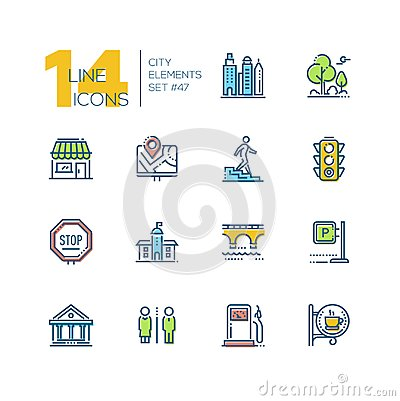 Free City Elements - Set Of Line Design Style Colorful Icons Stock Photos - 122042943