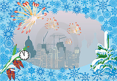 City and firework Christmas illustration