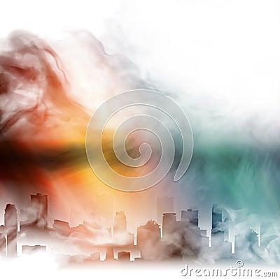 City in a fog