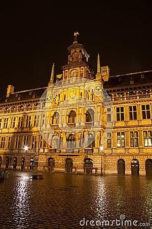City hall in Antwerp - Belgium - at night