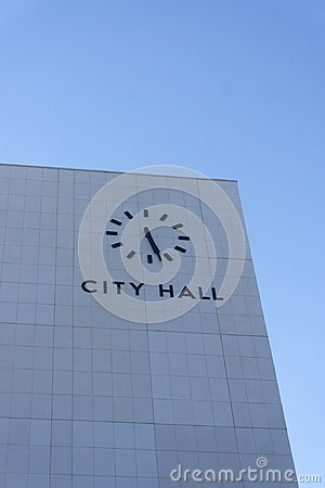 Free City Hall Building With Clock Stock Photography - 99026382