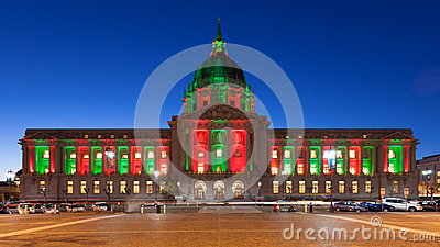 City Hall in Christmas Lights
