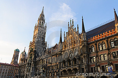 City Hall and Frauenkirche in Munich, Germany