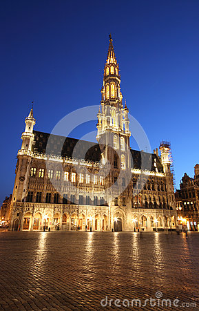 The city hall and Grand Place - Brussels, by night