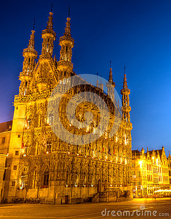 City hall of Leuven in the evening