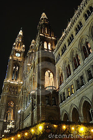 City Hall At Night In Vienna, Austria