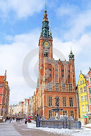 City hall on the old town of Gdansk