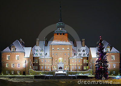 City Hall in Ostersund at winter evening