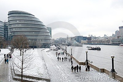 City Hall in the snow, London, UK Editorial Photo