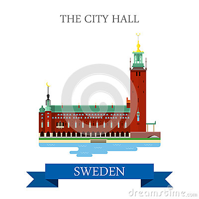 Free City Hall Stockholm Sweden Flat Vector Attraction Sight Landmark Royalty Free Stock Image - 69347606