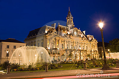 City Hall of Tours town at night
