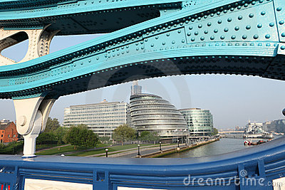 City Hall from Tower Bridge in London England Editorial Stock Image