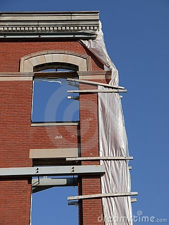 City: historic brick facade edge