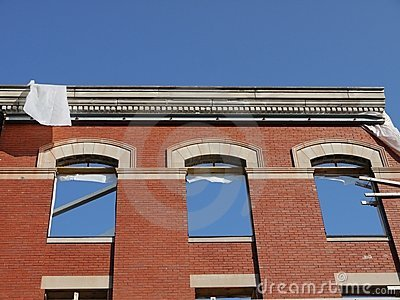 City: historic brick facade under renovation