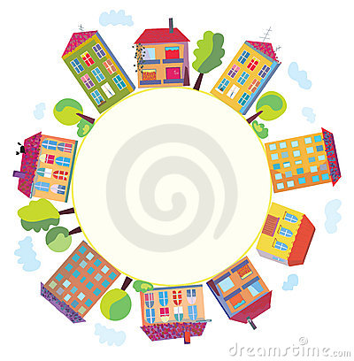 City houses in circle