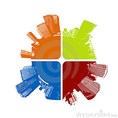 Free City In Four Colors. Vector Stock Photography - 2758842