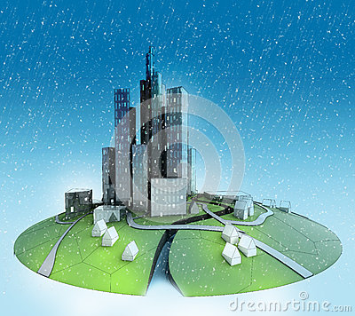 City island landscape with snow falling