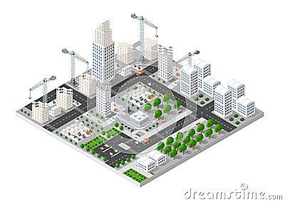 City isometric industry Vector Illustration