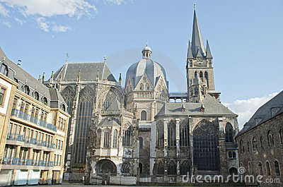 City landmark of Aachen cathedral in Germany.