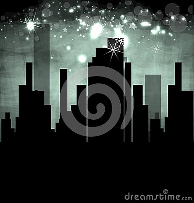 City Landscape dark real estate illustration
