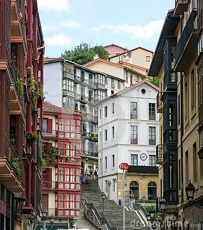 Free City Landscape Of A Small, Cozy Street With Cascaded Houses In Bilbao Stock Photography - 68242832