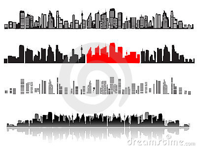 City landscape, silhouettes of