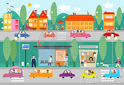 City life scene with bus stop