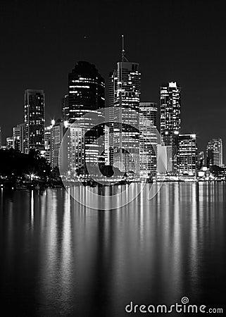 City Lights Water Reflection - Black & White Stock Photo