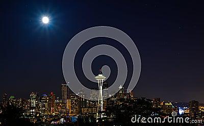 City Lights in Super Moon