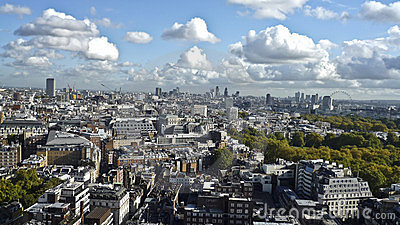 The city of London from above ,